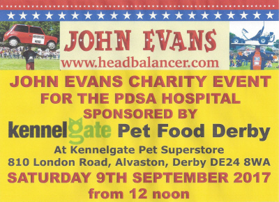 John Evans Charity Event 2017 for the PDSA Hospital sponsored by Kennelgate Pet Food Derby