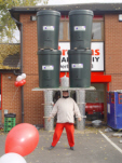 John head balances 4 very large water butts - Brown's the Trade Builders, Derby October 26, 2012