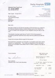 Thank you letter from Derby Hospitals for his donation following his 68th birthday charity event held at The Festival Inn, Trowell.,