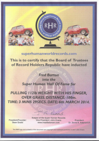 Super Human Certificate Fred Burton March 2014