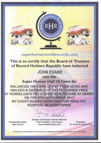 Super Human Certificate John Evans Pet Food